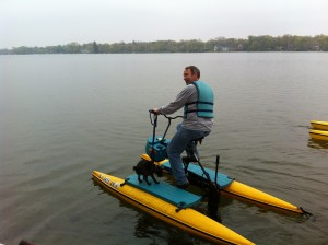 Paul Myers and his dog take the hydrobike out on Crystal Lake