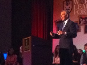 Tony Blair takes the stage at Judson World Leaders Forum